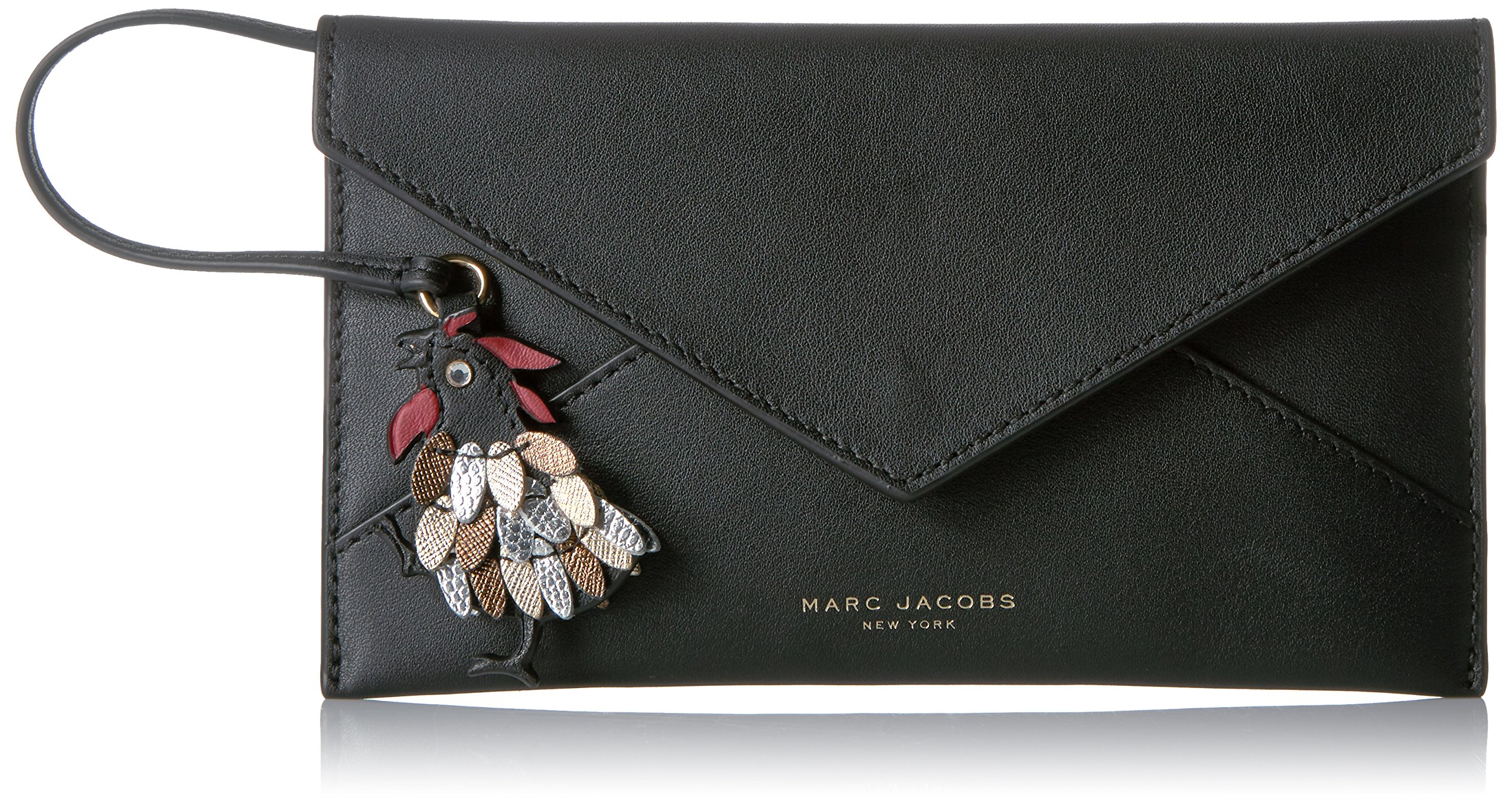 Marc Jacobs Women's Rooster Envelope Coin Purse, Black, One Size