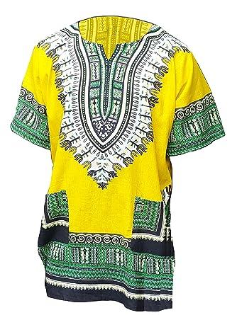 40bcf82038b8f Amazon.com  Yellow African Print Dashiki Shirt from S to 7XL Plus Size   Clothing