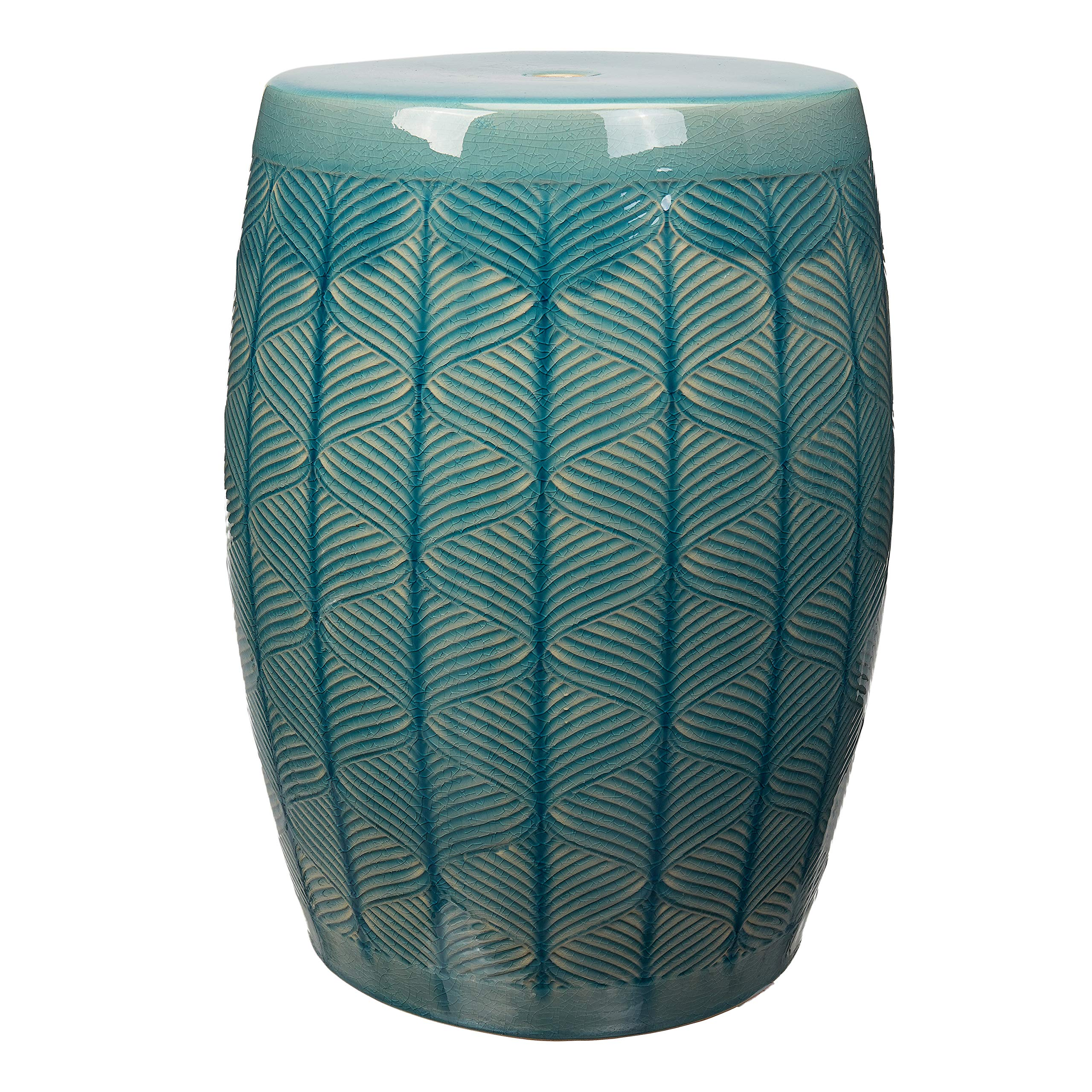 Better Homes and Gardens 17'' Marina Multi-Use Teal Green Textured Ceramic Garden Stool Side Table