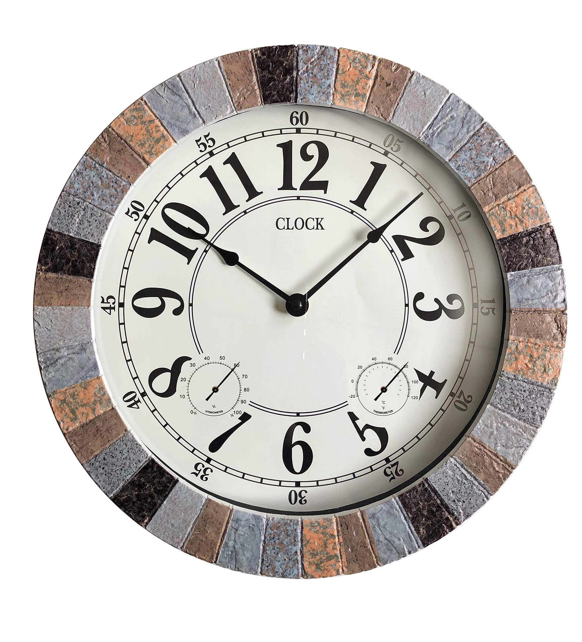 Backyard Expressions 914932 Indoor/Outdoor Clock, Gray, Black, Brown