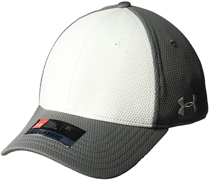 best website d61cf 2ad54 Under Armour Men s Armour Color Blocked Stretch Fit Cap, Graphite  (040) White
