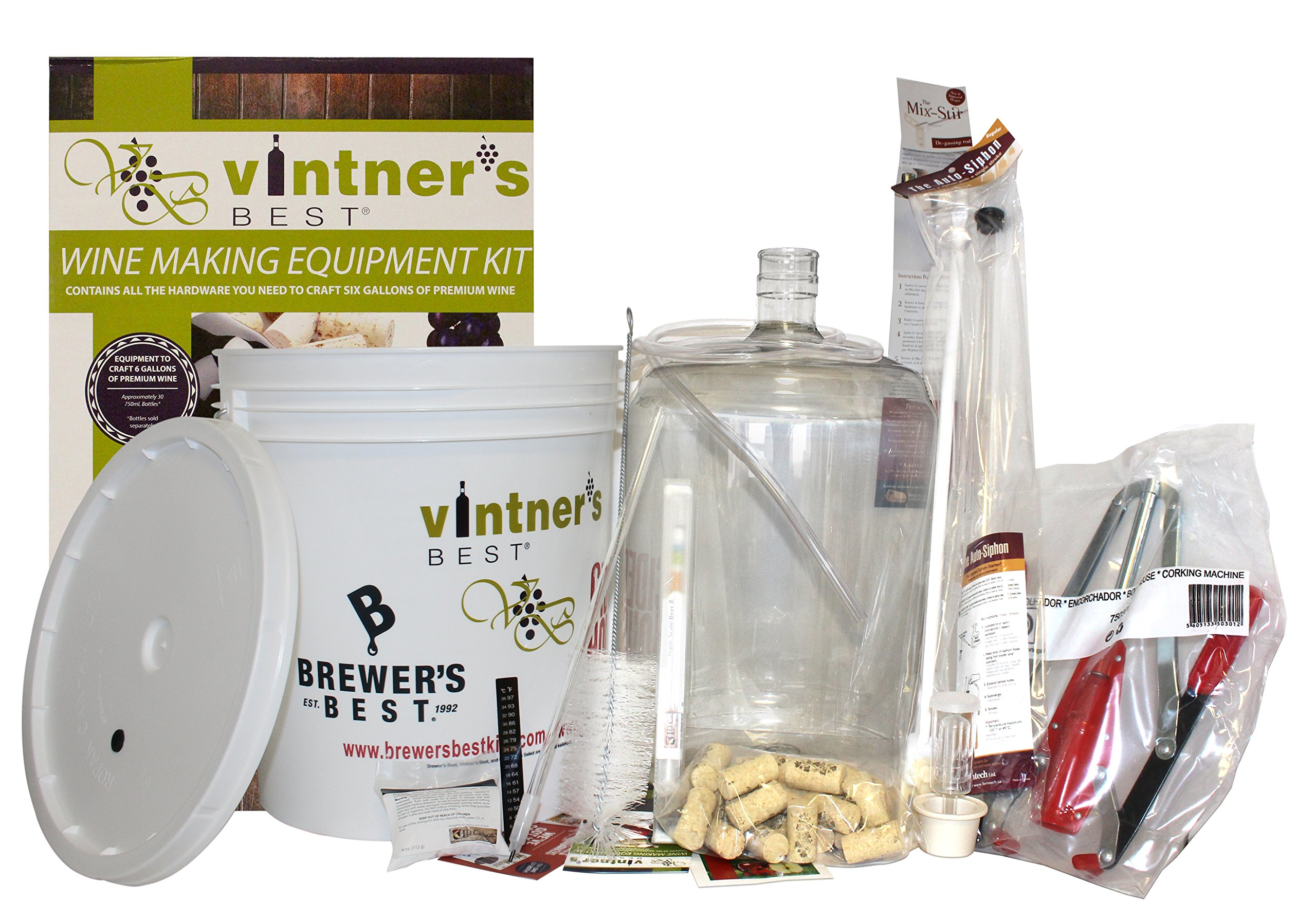 Starter Equipment Kit w/ Better Bottle & Double Lever Corker by Midwest Homebrewing and Winemaking Supplies