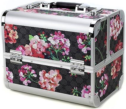 Glow - Caja de maquillaje profesional, para maquillaje, esmaltes de uñas, joyas, accesorios Floral.: Amazon.es: Belleza