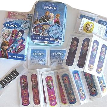 Los niños de Frozen carácter infectiguard + varios tiritas estériles, pegatinas, tira de termómetro, toallitas 36 unidades y Frozen almacenamiento lata: ...