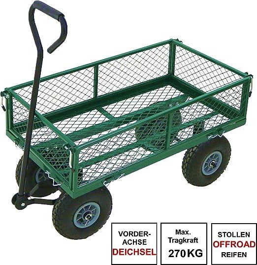 Carro de jardín de Izzy Sport, 275 kg, metal, remolque para tractor, carretilla de mano, neumáticos, paredes plegables, bolsa extraíble: Amazon.es: Jardín