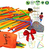 Skoolzy Straw Structures Interlocking Connecting Engineering Construction Kit - 200 Pc Straws and Connectors STEM Set Preschool Fine Motor Skills Building Toys for Boys & Girls -Free Activity Download