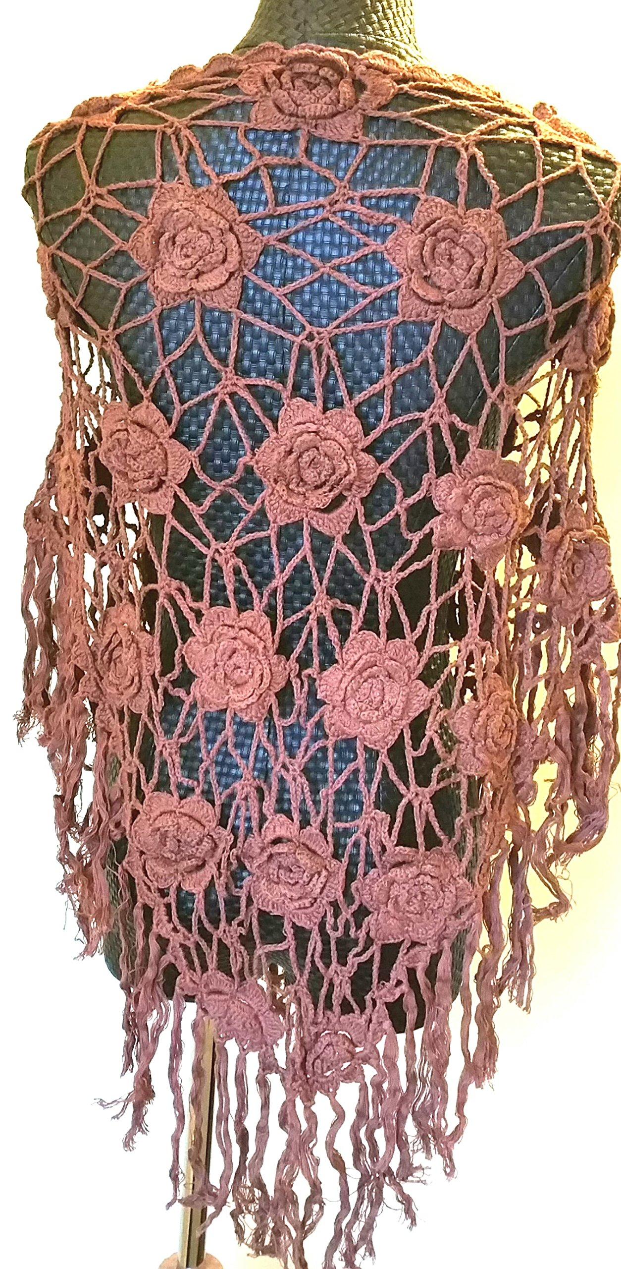 Vintage Loose Knit Crochet Fringe Poncho Swim Cover Pool Drape Top brown by Crochet Poncho (Image #2)