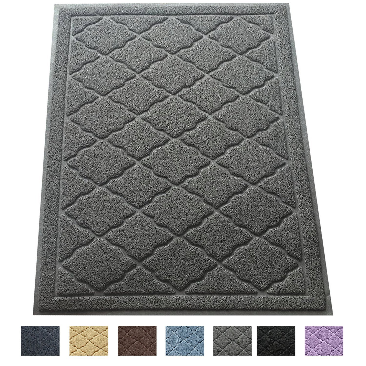 "Premium Large Cat Litter Mat 35"" x 23"", Traps Messes, Easy Clean, Durable, Phthalate Free, Litter Box Mat with Scatter Control - Soft on Kitty Paws"