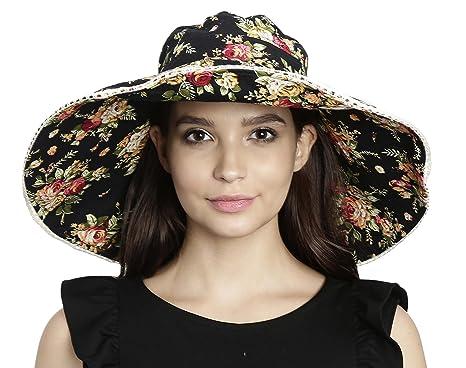 07c0002162d FabSeasons Women s Cotton Floral Print Long Brim Foldable Beach Hat   Cap  for Summer Free Size