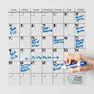 Think Board Self-Adhesive Whiteboard Wall and Refrigerator Calendar, Peel and Stick Dry Erase Board Wall Cling for Home and O