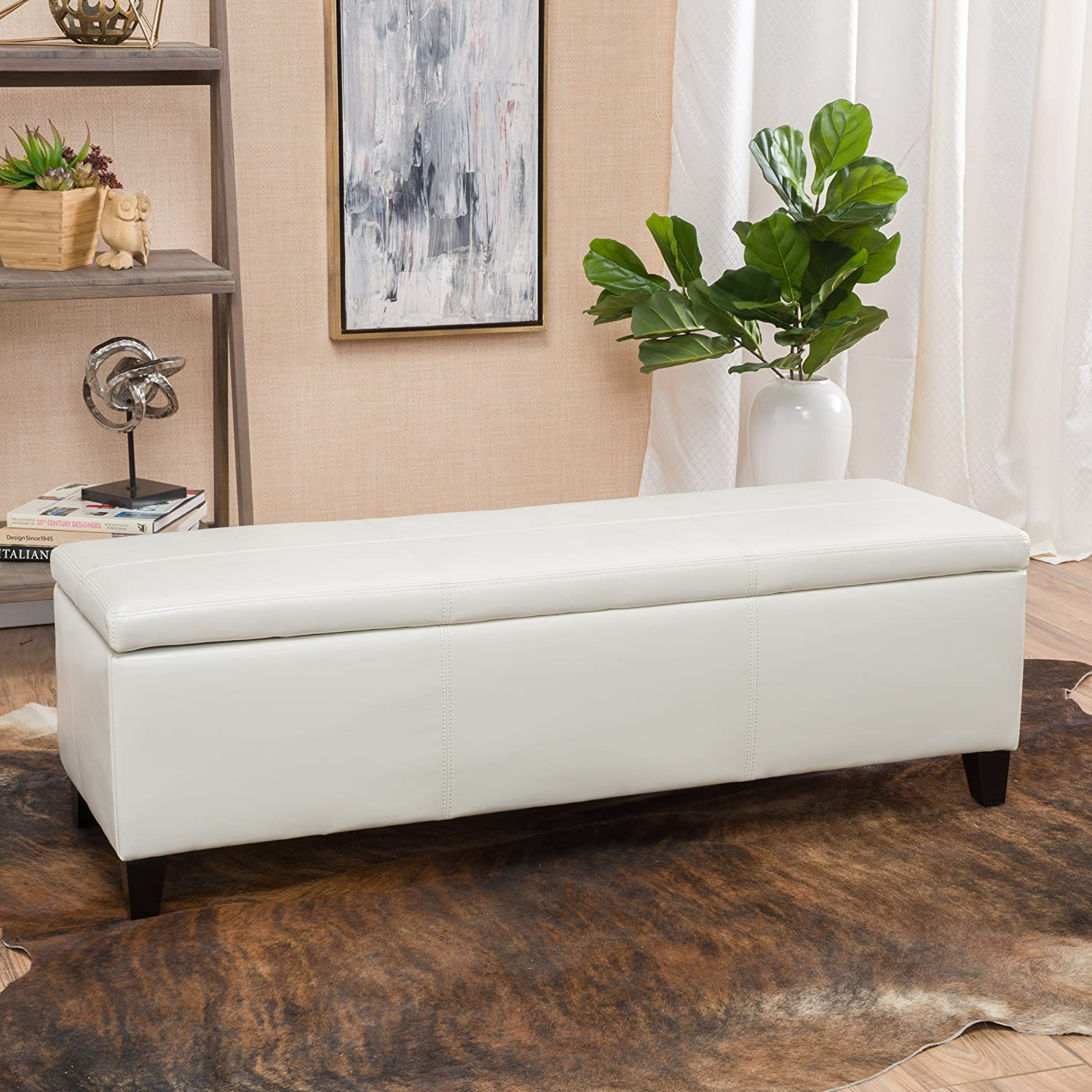 Christopher Knight Home 296846 Living Skyler Off-White Leather Storage Ottoman Bench, Ivory
