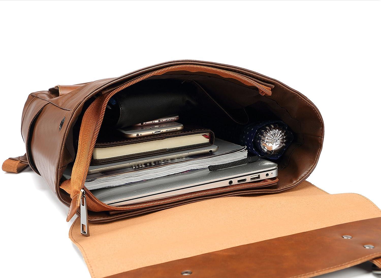 f35b4edec6 Amazon.com: ZEBELLA Faux Leather Backpack Vintage Leather Brown Backpack  Vegan Travel College Bookbag for Women and Men: Toys & Games