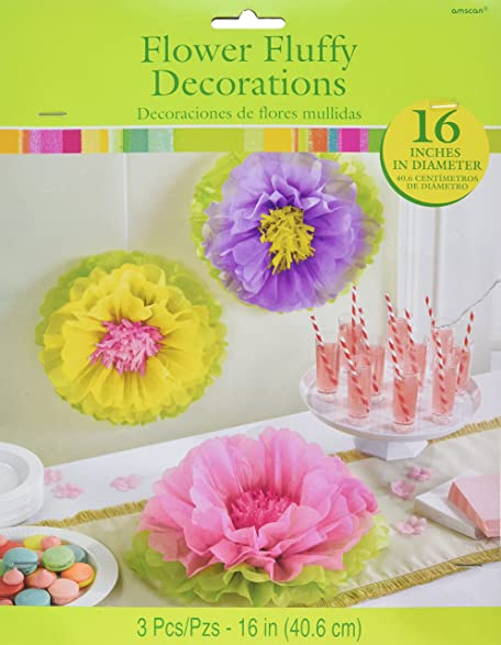 Amazon amscan spring flower fluffy party hanging decoration 3 amscan spring flower fluffy party hanging decoration 3 piece multicolor 16quot mightylinksfo