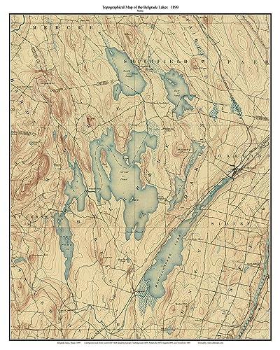 Amazoncom Belgrade Lakes Old Topographic Map USGS Custom - Maine lakes map