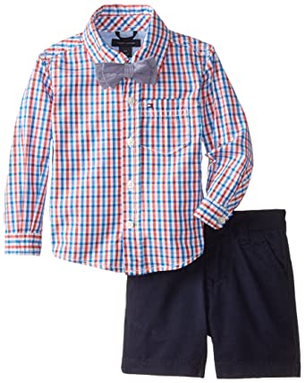 5343761d9c08 Tommy Hilfiger Baby Boys' Long Sleeve Prep Check with Bow Tie Set, Hibiscus  Tea
