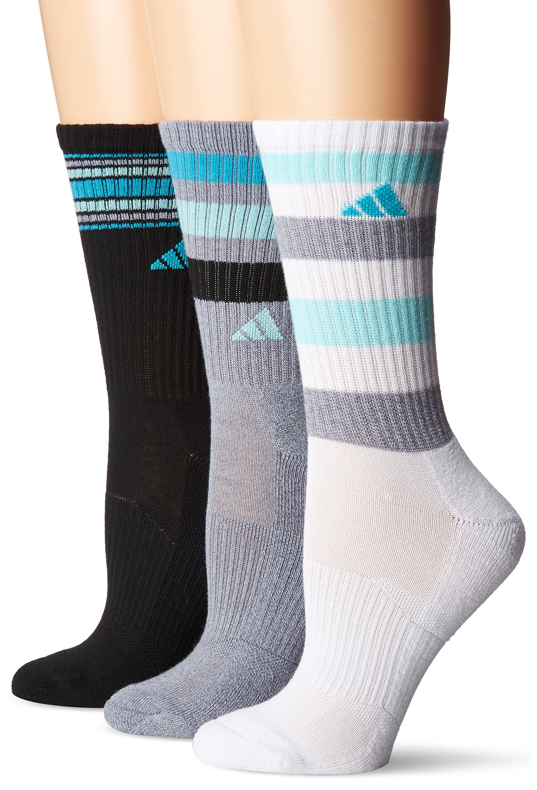 adidas Women's Cushioned 3-Pack Crew Socks, Grey Clear Onix Marl/Energy Aqua/Energy Blue/Black/White, Medium