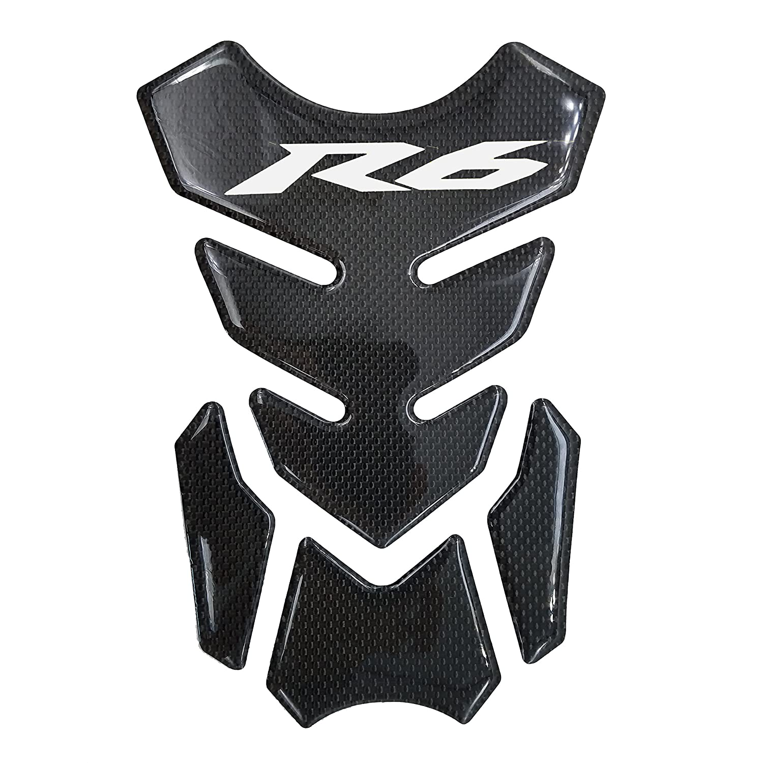 Silver Real Carbon Fiber 3D Sticker Vinyl Decal Emblem Protection Gas Tank Pad For Yamaha YZF R6 PM-14