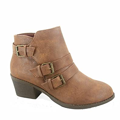 Eury-4 Women's Fashion Round Toe Buckles Zipper Low Heel Ankle Booties Shoes