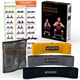 Resistance Booty Loop Bands   Butt Lifter Exercise Bands in Elastic, Non Slip Fabric   Perfect for Stretching, Fitness, Weight Loss & Physical Therapy   Set of 3 with Carry Bag & Workout Guide Poster