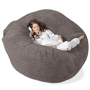 Lounge Pug® - CORD - GIANT Bean Bag SOFA - MEGA MAMMOTH - Beanbag -  GRAPHITE GREY