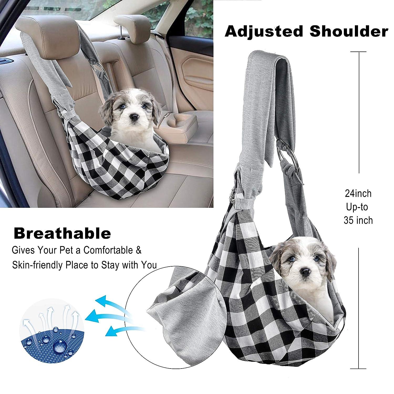 Bolsa de transporte para perros y gatos, manos libres suave reversible ajustablede algodón, bolsa de viaje para cachorros al aire libre bolsillo frontal, ...