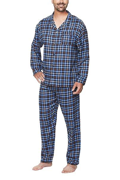 Moonline - Pijama de Hombre de Franela con diseño de Cuadros: Amazon.es: Ropa y accesorios