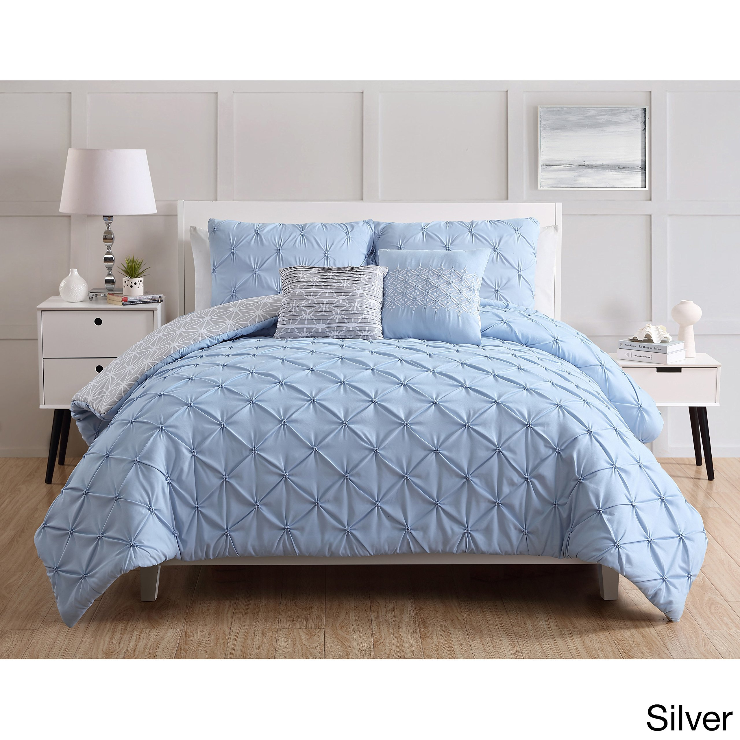 Lattice Embossed 7 Piece Bed In A Bag Comforter  - Queen by VCNY Home