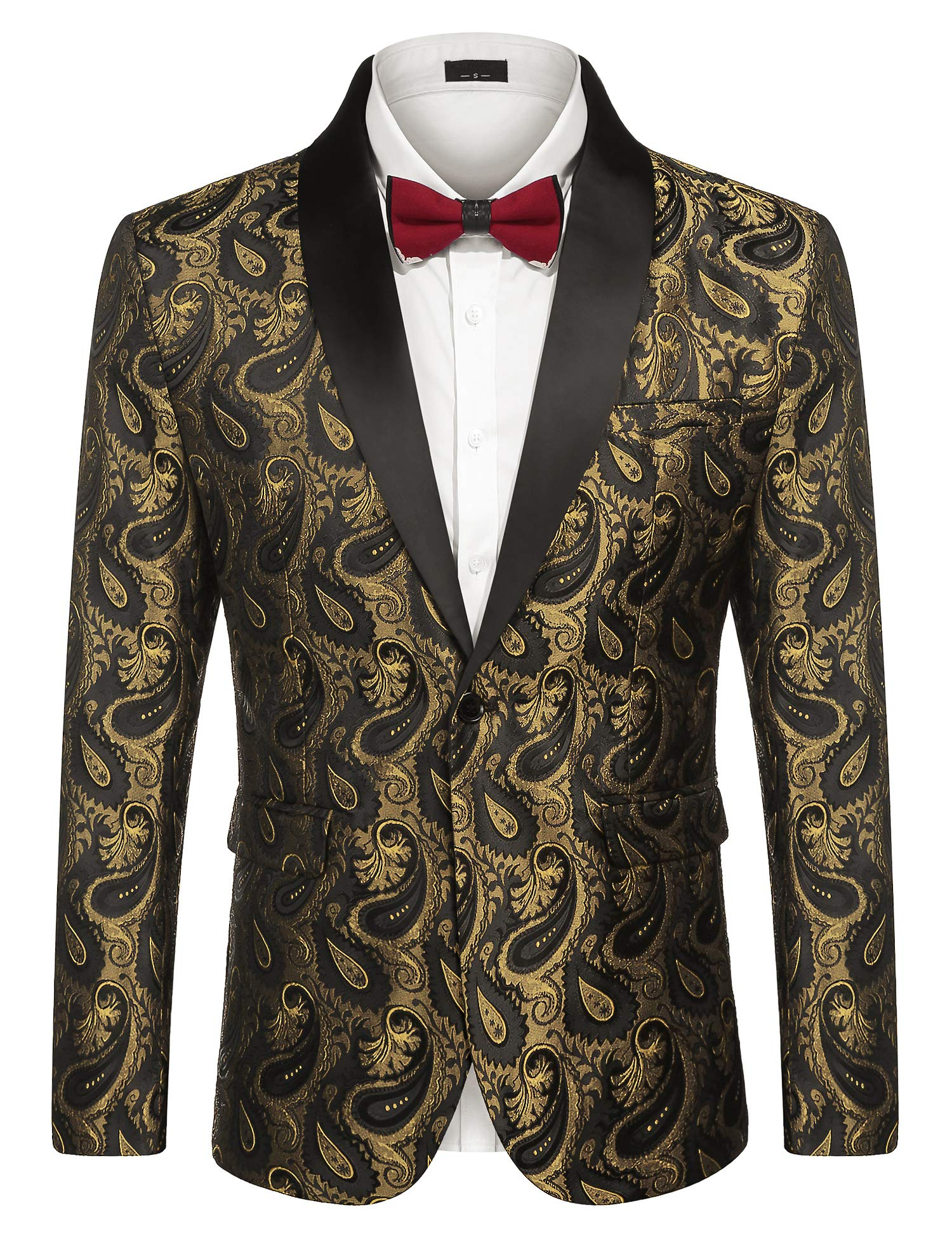 JINIDU Men's Floral Tuxedo Jacket Paisley Embroidered Suit Jacket for Dinner,Party,Wedding,Prom Golden by JINIDU