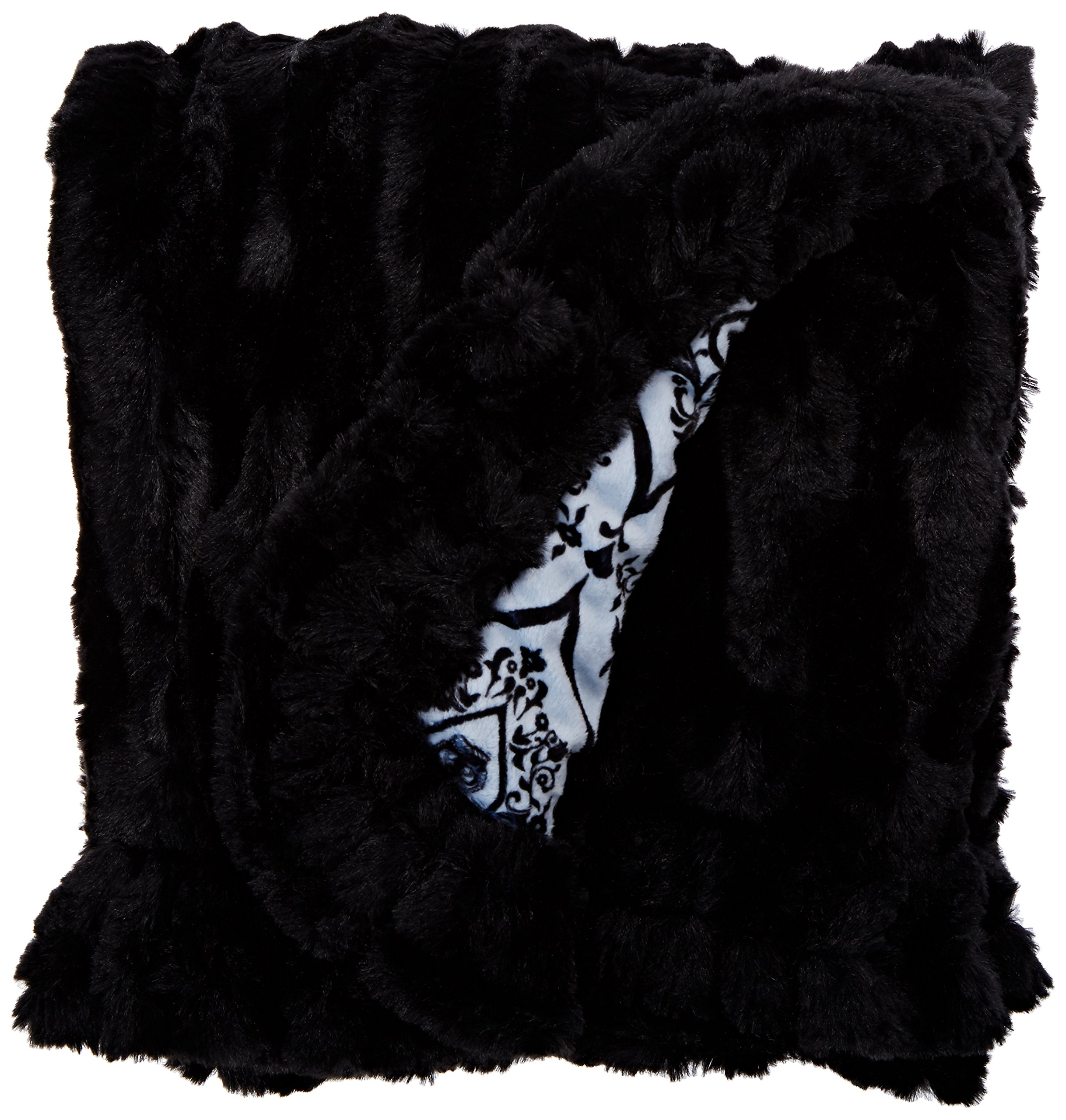 BESSIE AND BARNIE Versailles Blue/Black Puma Luxury Ultra Plush Faux Fur Pet, Dog, Cat, Puppy Super Soft Reversible Blanket (Multiple Sizes) by BESSIE AND BARNIE (Image #1)