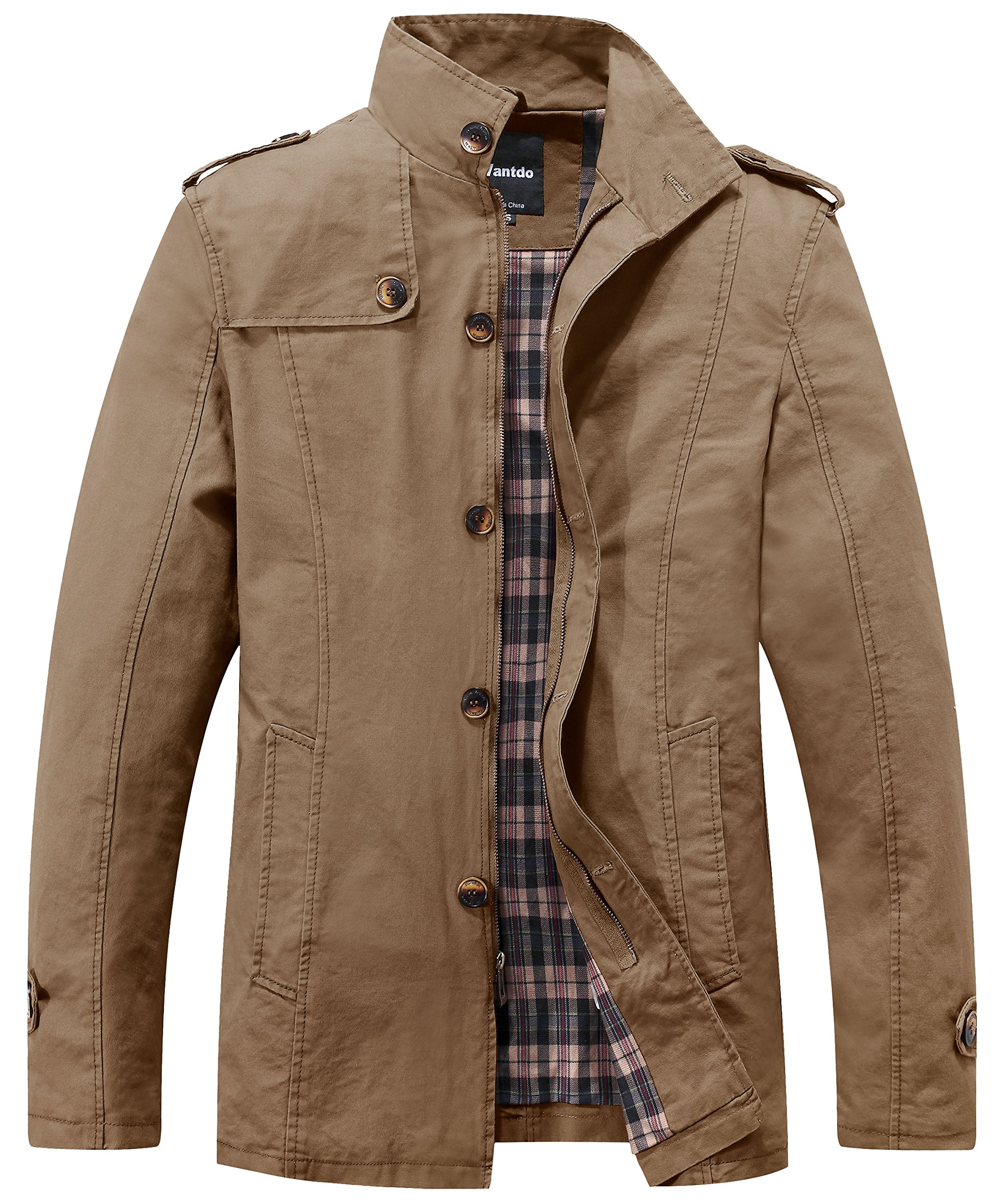 Wantdo Men's Stand Collar Cotton Classic Jacket US Large Khaki by Wantdo