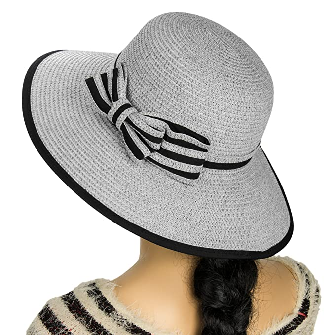 c12935ec999f91 Aerusi Women's Hampton Floppy Straw Hat (Grey) at Amazon Women's ...