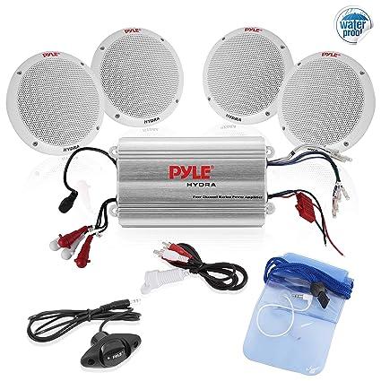"""Pyle Marine Receiver Speaker Kit - 4-Channel Amplifier w/ 6.5"""" Speakers on"""