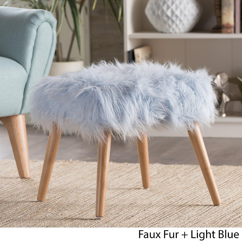 Christopher Knight Home 300443 Living Hudson Mid-Century Faux Fur Ottoman Light Blue ,