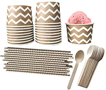 Paper Dessert Ice Cream Cups Kraft Brown And White Chevron Wood Spoons Paper