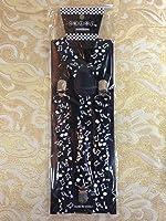 White Music Notes II Elastic Adjustable Y-shape Clips-on Suspenders Women Men
