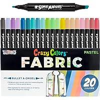 مجموعة أقلام تلوين سوبر ماركرز مكونة من 20 لونًا باستيل فريدة من نوعها من القماش ذي الرأس المزدوج - أقلام تحديد قماشية…
