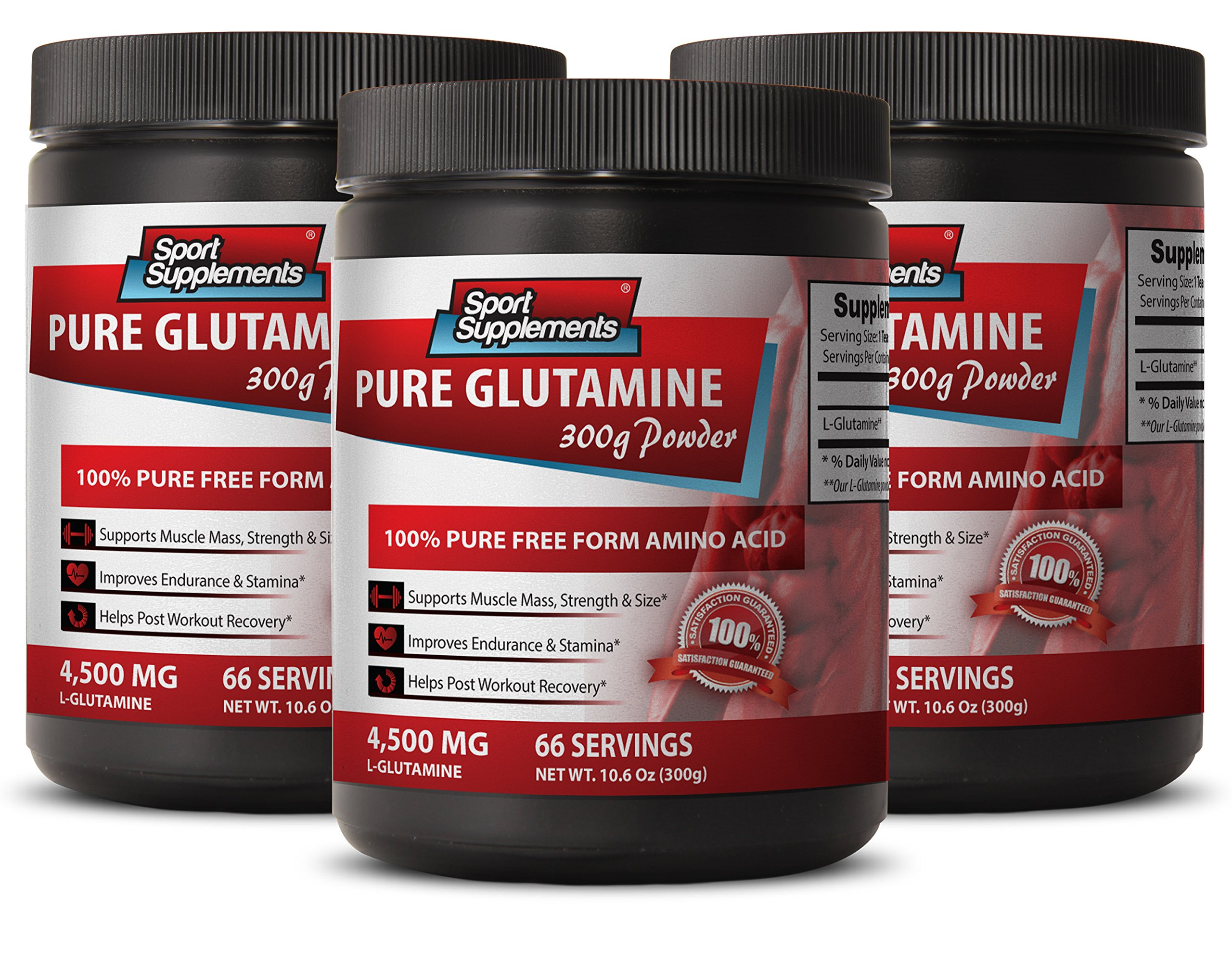 L glutamine 5000mg - L Glutamine - Restores amino acids after cells are catabolized (3 Bottles)