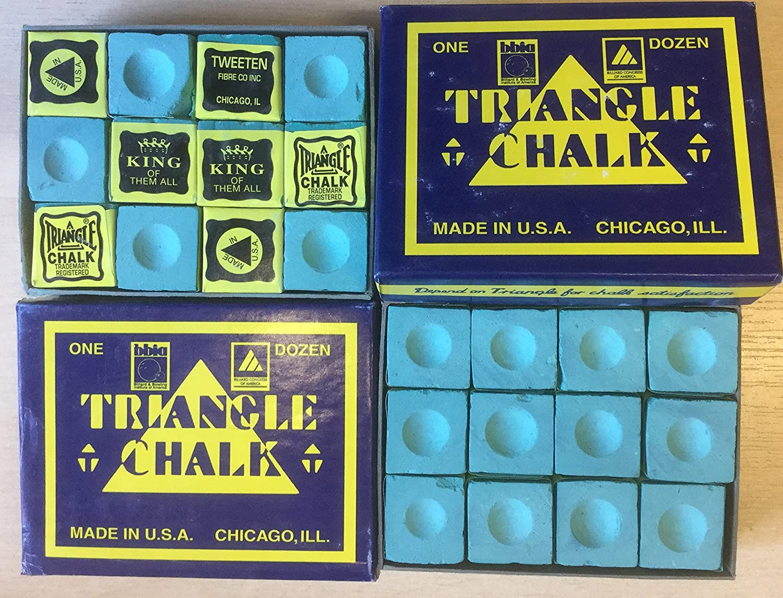 Triangle chalk Lot de 24/,pi/è,ces de craie de billard dans 2/,bo/î,tes Vert