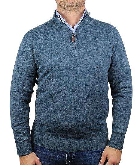 mode designer Bons prix couleurs délicates Pull Homme 1st American Demi zippée - Pullover Manches Longues Lambswool -  Tricot d'hiver Patchs sur Les Coudes