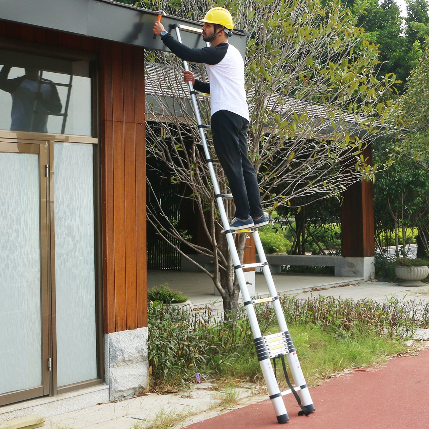 WolfWise 12.5 FT Telescoping Ladder Aluminum Telescopic Extension Tall Multi Purpose by WolfWise (Image #6)
