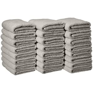 AmazonBasics Cotton Hand Towels - Pack of 24, Grey