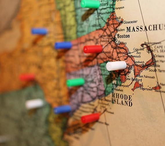 Imanes de mapa – 120 unidades de pequeños empujadores magnéticos para pizarras blancas u imanes de oficina (colores surtidos: 30 rojo, 30 azules, 30 verdes, 30 blancos).: Amazon.es: Oficina y papelería