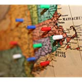 Map Magnets - 120 Pack of Small Magnetic Push-Pins for Whiteboards or Office Magnets [Assorted Colors: 30 Red, 30 Blue, 30 Green, 30 White]