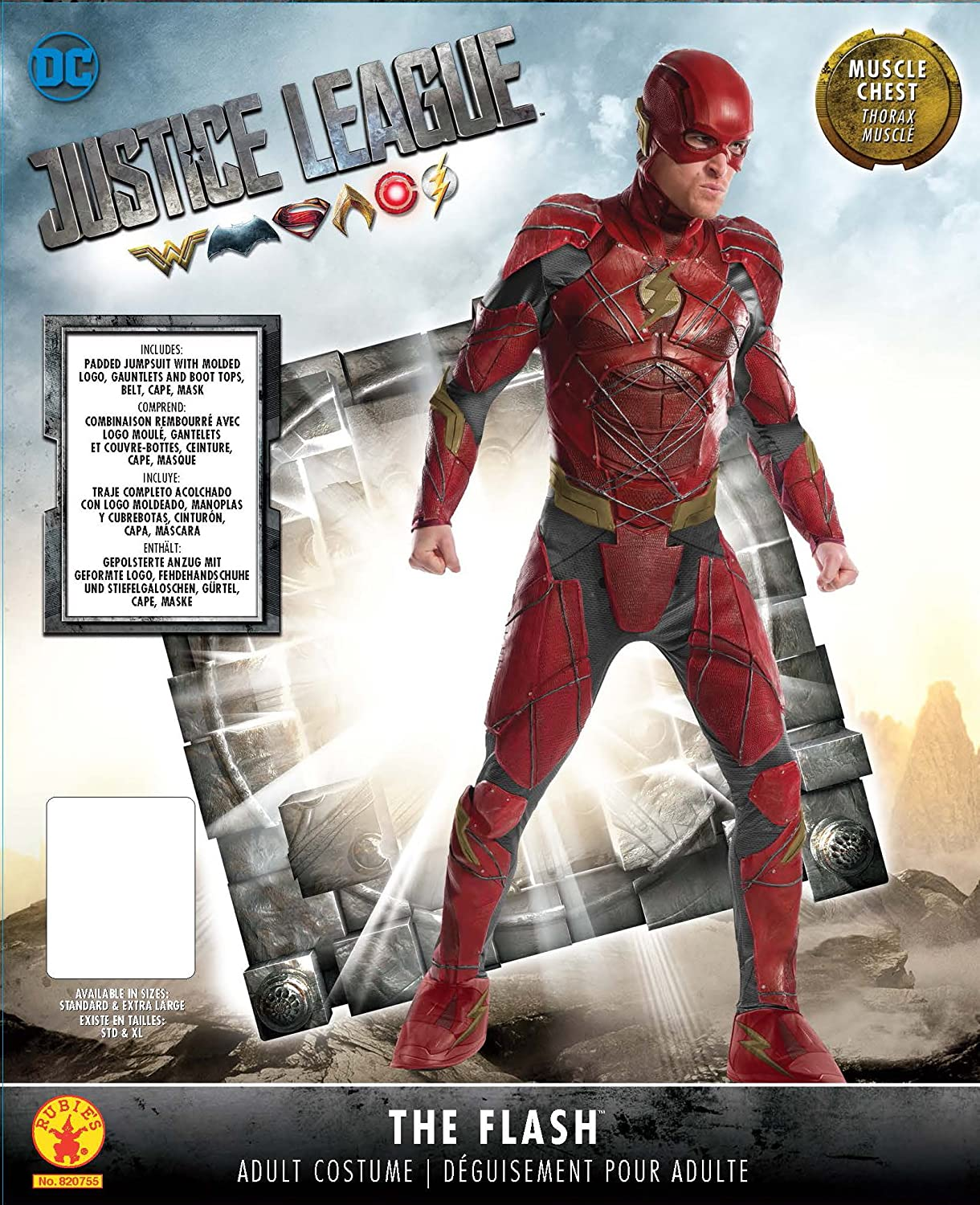 Rubies Costume Co. Mens Justice League Grand Heritage Flash Costume