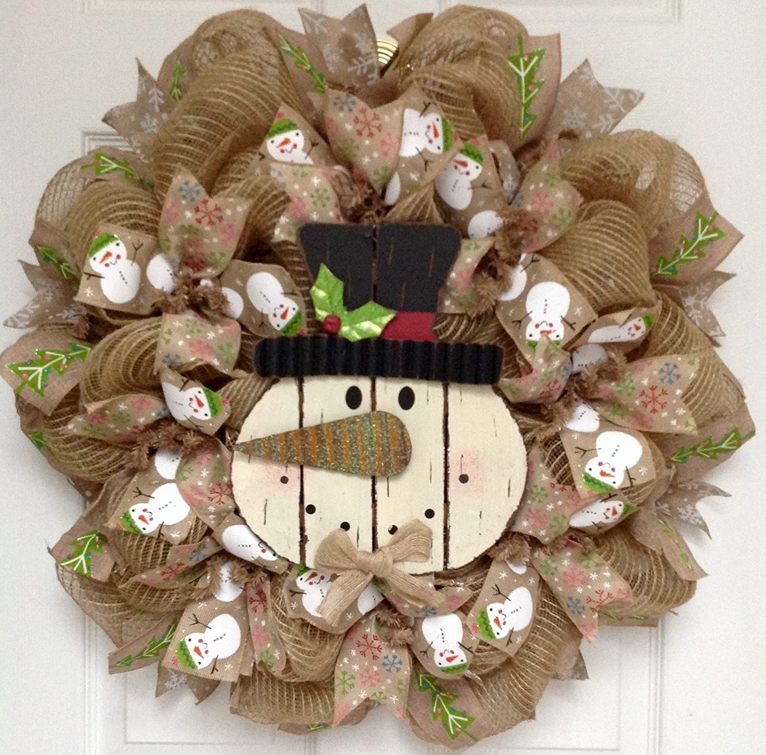 Wood Snowman with Tin Nose Deco Mesh Holiday Handmade Wreath