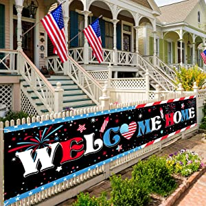 Welcome Home Banner Large Fabric Patriotic Theme Welcome Banner Garland Hanging Backdrop Sign Decoration for Greeting Police Military Army Employees Heroes Theme Party Supplies, 71 x 16 Inches