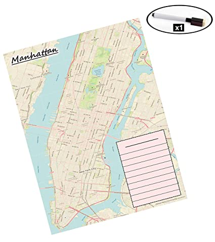 Map Of New York Restaurants.Laminated Map Manhattan New York City Dry Erase Marker Included Activities Favorite Restaurants And Places Tourist Map Memory Map Events