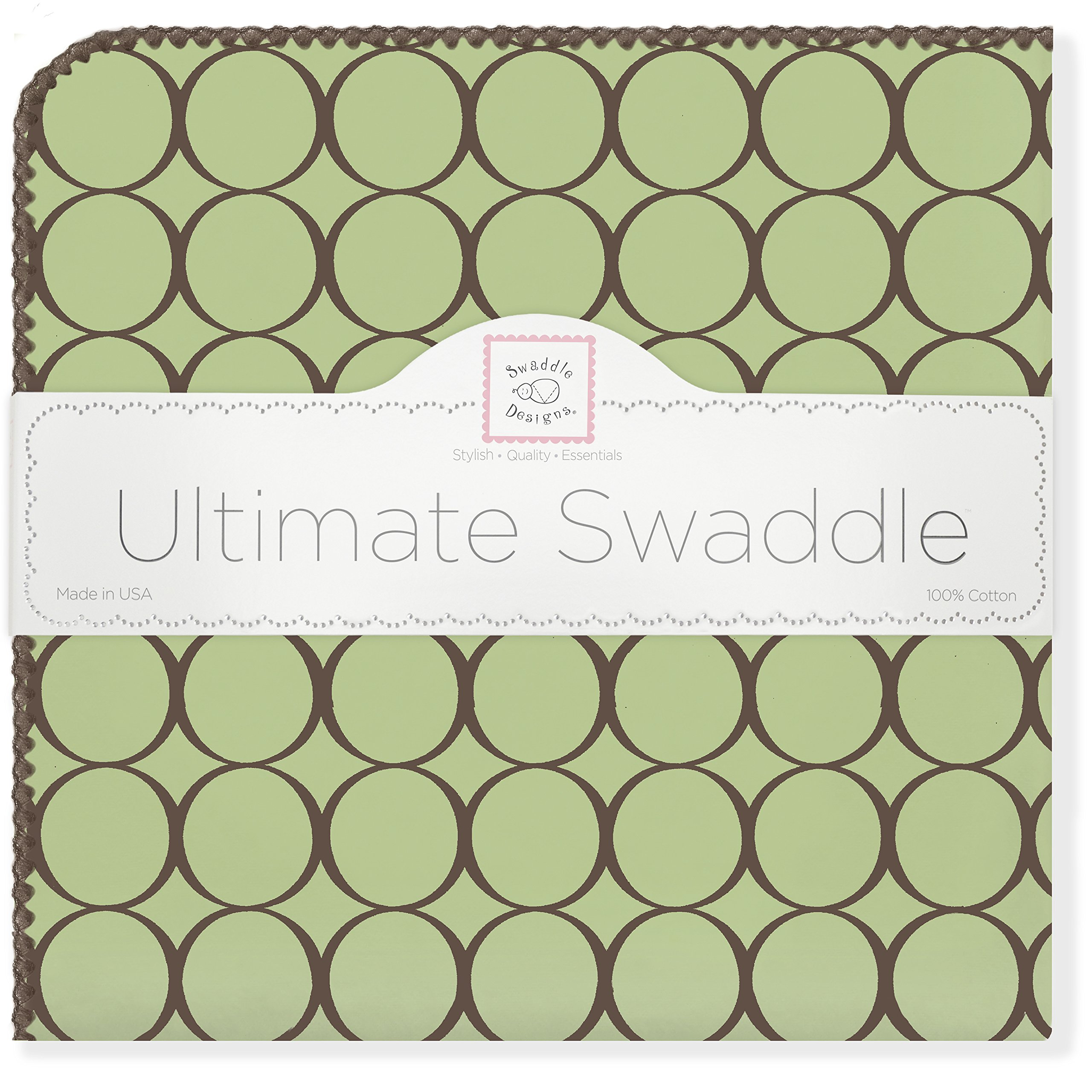 SwaddleDesigns Ultimate Swaddle Blanket, Made in USA, Premium Cotton Flannel, Brown Mod Circles on Lime
