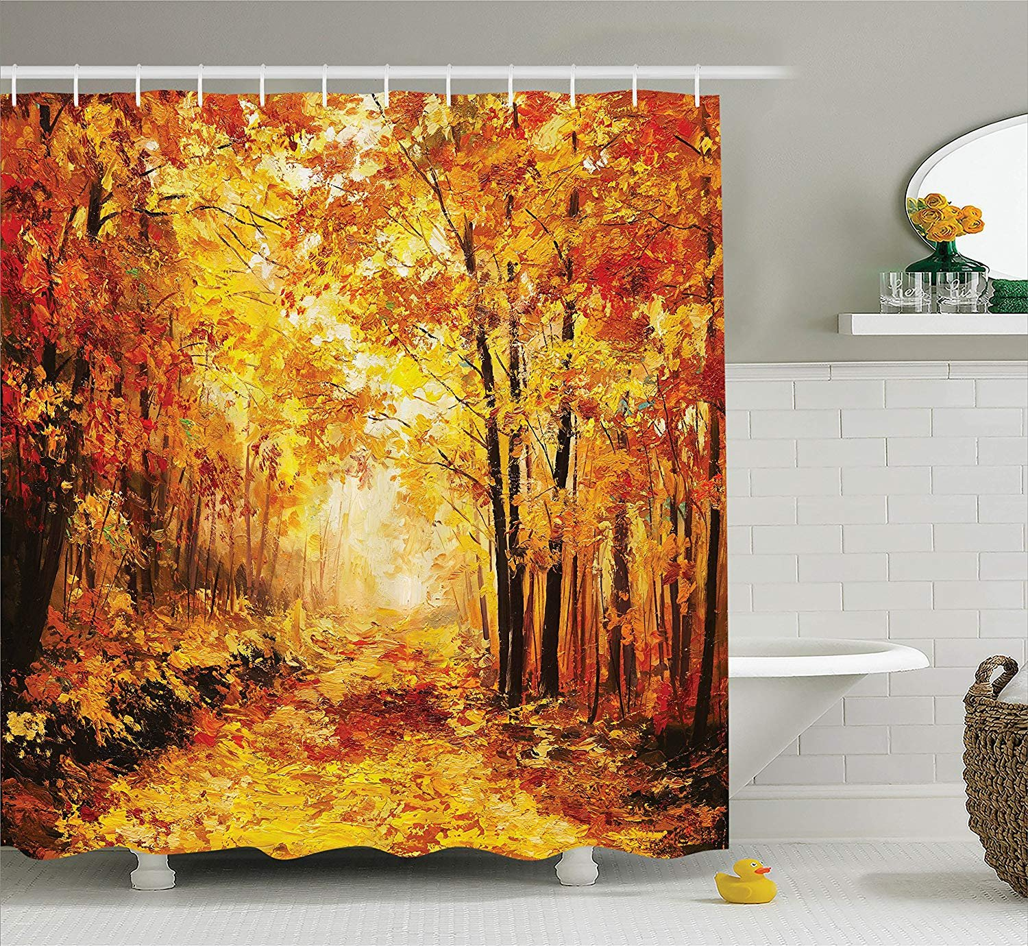 Printing Country Decor Shower Curtain Set, Pale Shaded Autumn in The Forest Pastoral Calm Simple Life Nature Paint Away Art Theme, 72 x 84 Inches Orange Brown