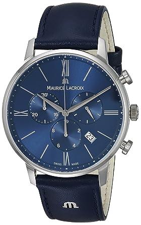Maurice Lacroix Hombre Cronógrafo Cuarzo Reloj con Pulsera de Piel EL1098 de SS001 - 410 - 1: Amazon.es: Relojes